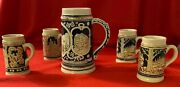 Classic Beer Steins Collectible Set. Five For One Price. Rare Combo. Vintage.