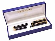 90s Waterman Gentleman Black Lacquer And Gold Rollerball Ballpoint Pen Set In Box