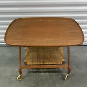 Danish Control Furniture Midcentury Mcm Wood Two Tier Wicker Cart Foldable Table