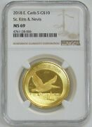 2018 Gold 1 Oz St. Kitts And Nevis 10 Pelican Ngc Mint State 69