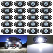 20x 9w White Cree Led Rock Light For Jeep Suv Offroad Truck Boat Underbody Lamp