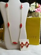 Super Rare Kendra Scott Vintage Bright Red Bridget Earrings And Tory Necklace