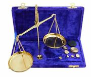 Vintage Shiny Brass Jewellery Scale W/ Velvet Box And Complete Set Weight Balance