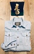 Mens Bke Blue Shirt Size Small Standard Fit New Display Long Sleeve Button Up