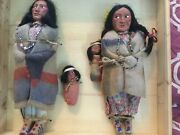 Doll Skookum Indian 11 10 And Two 3.5 Dolls Wooden Box