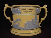 Very Rare Large 1800s Marriage Presentation Loving Cup Staffordshire Yellow Ware