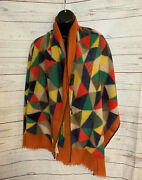 Mois Mont Womenandrsquos Geometric Print Multicolor Scarf Shawl 100 Wool One Size