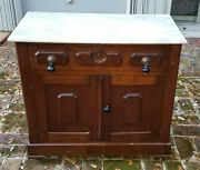 Antique 19 C. English Oak Marble Top Stand Dry Cabinet W/ Tear Drop Pulls
