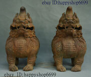 Old Chinese Palace Iron Fengshui Wealth Unicorn Beast Incense Burner Censer Pair