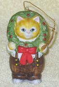 Rare Kitty Cucumber Jb Buster With Wreath Ornament Porcelain 1985