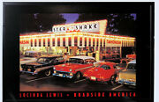 Vintage America Led Light Up Picture Wall Art 1950s Muscle Car Diner Scene New