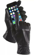 Isotoner Women Stretch Genuine Leather Smartouch Fleece Lined Gloves,black S/m