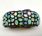 Victorian Design Vintage Real Opal Gemstone With Pave Diamond Bangle 925 Silver