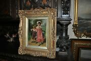 Victorian Era Oil Painting Of A Boy And Girl Titled Bread And Butter Days Signed