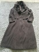 Autograph Long Wool Cashmere Mix Trench Style Coat Warm Long Size 14 Brown Faix