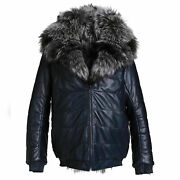 Menand039s Hooded Reversible Silver Fox Fur And Blue Calf Leather Bomber Coat