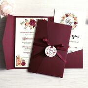 Greeting Cards With Envelope Wedding Invitations Party Needs Ribbon Tags 100pcs