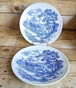 Wedgewood China Countryside Blue England Dinner Plates Set Of 2 Vintage