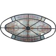 Antique French Beaux-arts Stained And Leaded Glass Oval Skylight Window C. 1900