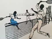 Antique 2 Pictures, Silhouette Tennis Art. 1920's. Germany. Stamped Signature.