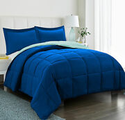 250 Gsm Down Alternative 3 Piece Solid Reversible Comforter Set All Size And Color