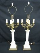 Pair Of Vintage 1940's Ornate Alabaster And Brass 5-stick Candelabra Table Lamps