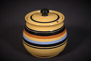 Rare Signed Condiment Pot With Lid Multi-color Bands T.g. Green Yellow Ware