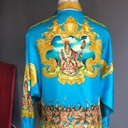 Gianni Versace Silk Shirt Indian Summer Print Size It 42 From 1993 Miami