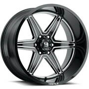 4 22x14 Hostile Wheels H117 Venom Blade Cut Black Milled Off Road Rimsb1