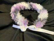 Hawaiian Feather Lei, 25, Lavender Gray And White Spiral