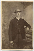 Handsome Man Thinking Of Dinner. Man In 3 Piece Suit, Straw Hat. Cabinet Card.