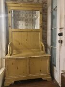 Vintage Farmhouse Wood Hall Tree With Bench And Mirror