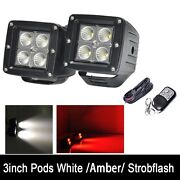 2x 3 Red White Dual Color Led Work Light Flood Beam Pods Strobe Remote And Wiring