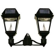 Gama Sonic Imperial Ii 2-head Solar Black Outdoor Integrated Led Post Light On