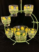 Vintage Culver Footed Cocktail Drinking Glasses Caddy Ice Bucket Yellow Flowers