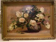 19th Century Impressionist Oil On Canvas Floral Still Life White Roses