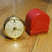 Vintage Jaegar Lecoultre 8-day Travel Alarm Clock With Carry Case