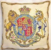 Royal Coat Of Arms Of The Uk 18 X 18 Belgian Tapestry Cushion Cover + Zip 1818
