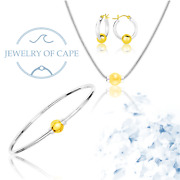 4 Pc Set Cape Cod Bracelet Earrings And Necklace 14k Gold And 925 Sterling Silver.