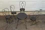 5 Pcs Vintage Wrought Iron Doll Ice Cream Parlor Chair Table Rocking Chair Set