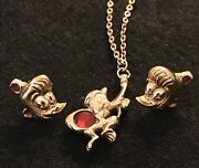 Vintage Signed Disney Abu From Aladdin Gold Tone Necklace And Matching Earrings