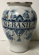Antique 18th Century Hand Painted Faience Apothecary Medicine Jar Ung Basil Fl