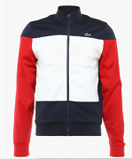 Lacoste Big Men 4x Nwt 145 Sport Track Jacket Red White Blue Tricot Poly New