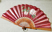 Antique Folding Fan Burgundy Red Silk Satin Hand Painted Rose Leather Sticks