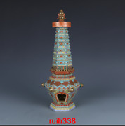 Rare China Antique Qing Dynasty Qianlong Enamel Flowers And Plants Pagoda Statue