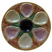 Antique English Samuel Lear Majolica Oyster Plate 19th Century
