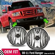 For Ford Ranger 08-11 Factory Bumper Replacement Fit Fog Lights Dot Clear Lens
