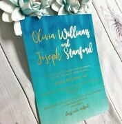 Gold Foil Wedding Invitation, Ombre Blue Turquoise Beach Watercolour Christening