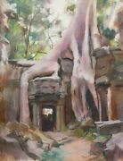 Marthe Pasteur French Drawing Pastel Painting Landscape Angkor Temple Cambodia