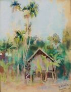 Marthe Pasteur French Drawing Pastel Painting Landscape Cambodia Angkor Jungle